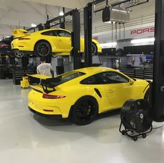 Porsche 991 GT3 RS and a Porsche 991 GT3 both painted in Racing Yellow Photo taken by: @mmaraj on Instagram