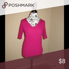 Pink V Neck Pullover Pink V - neck that stretches - Great with Jeans or wear to work Worthington Tops Blouses