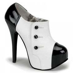 """Pleaser Bordello 5 3/4"""" High Heel 3 Button Ankle Boot W/Concealed PF Women's Shoe TEE20/WB/PU"""