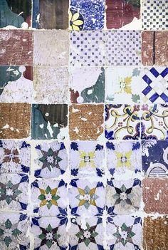 Lisbon, mixed old tiles