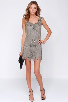 Raga Patternalia Taupe Beaded Dress / Lulus.com is a GREAT site for cute dresses!
