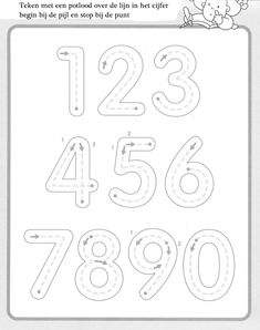 1 10 Writing numbers worksheets for preschool and kindergarten Kids Art & Craft Preschool Writing, Numbers Preschool, Preschool Printables, Preschool Worksheets, Preschool Learning, Kindergarten Math, Preschool Activities, Teaching, Number Worksheets