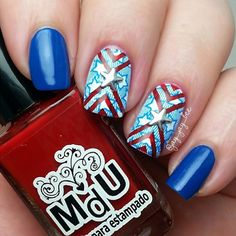 Happy 4th of July #Monsters! Enjoy this super cute #patriotic #Mani by #jay_jay_bee using stamp #BM604.  #4thofjuly #BundleMonster #Nails2Inspire #Nailstamping