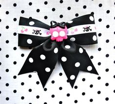 This hair bow is cute as can be and it's ON SALE! http://punkupbettie.bigcartel.com/product/cutie-skull-and-heart-cherry-black-dot-hair-bow