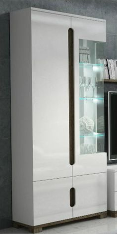 High Gloss Display Unit Glass Door Tall Cabinet White Furniture Lounge LED Light