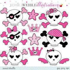 Sweet Skulls Digital Clipart - JW Illustrations