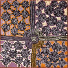 Une des œuvres du peintre aborigène de Papunya Morris Gibson TJAPALTJARRI exposée à Art Paris Art Fair 2014