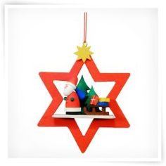 Christian Ulbricht Santa with Sled in Red Star Ornament