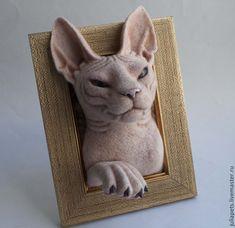 Needle Felted Animals, Felt Animals, Needle Felting, Head Statue, Sphynx, Gifts For Pet Lovers, Felt Art, Felt Crafts, Fiber Art