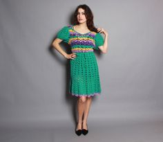 60s CROCHET Knit DRESS / Bright Green by luckyvintageseattle, $48.00