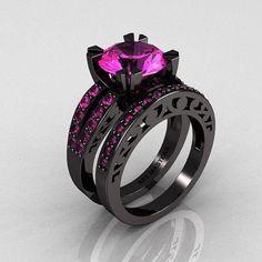 Modern Vintage 14K Black Gold 3.0 Carat Pink Sapphire Solitaire and Wedding Ring Bridal Set