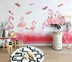 Pink Flamingo Wallpaper, Feather Wallpaper, Home Wallpaper, Custom Wallpaper, Pink Flamingos, Bedroom Wallpaper, 3d Wall Murals, Bedroom Murals, Kids Murals
