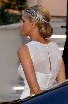 Princess Charlene of Monaco wearing her lovely diamond foam tiara.