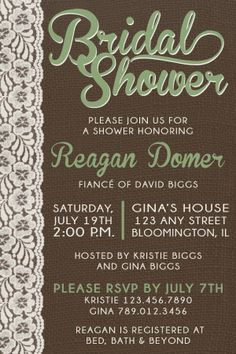 Bridal Shower Invitation burlap | lace www.Quick-DrawDesign.com