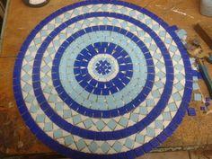 mesas em mosaico 50 cm em pastilhas de vidro-pronta entrega