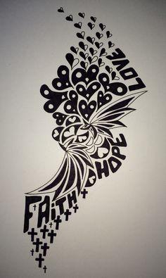 Faith, hope, love Zentangle Wiwiko