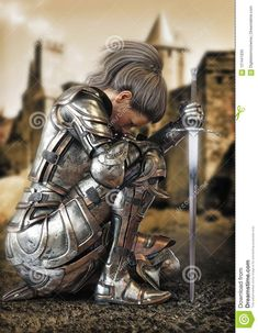 Female Warrior Knight Kneeling Wearing Decorative Metal Armor With A Castle In The Background. Stock Illustration - Illustration of heavy, plate: 121441635 Armor Of God Tattoo, Angel Warrior Tattoo, Warrior Tattoos, Norse Tattoo, Viking Tattoos, Female Armor, Female Knight, Shoulder Armor Tattoo, Knight Tattoo