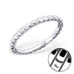 TJS 925 Sterling Silver Toe Ring Line Clear CZ Adjustable Fine Body Jewellery