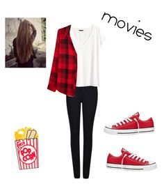"""""""going to the movies"""" by marilyng341 ❤ liked on Polyvore featuring Armani Jeans, H&M, Converse and Rails"""
