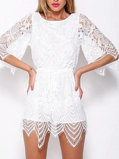 Shop White Half Sleeve Tied Waist Open Back Lace Romper Playsuit from choies.com .Free shipping Worldwide.$21.9