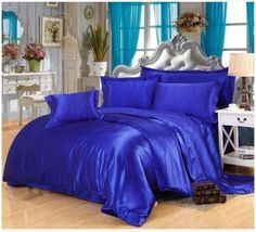 Silk Royal blue bedding sets satin california king size queen full twin quilt duvet cover fitted bed sheet bedspread double 6pcs