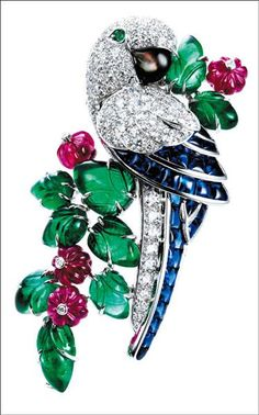 Parrot Brooch in Diamonds, Emeralds, Rubies, Sapphires, Onyx, and Platinum by Cartier ca. 1920.
