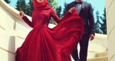 Lovely Red Abaya with Matching Hijab Trend