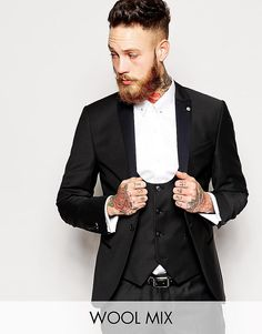 Noose+&+Monkey+Tuxedo+Suit+Black+With+Contrast+Satin+Lapel+In+Skinny+Fit+