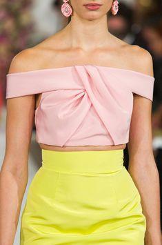 Oscar de la Renta Spring 2015. Blush off the shoulder top & yellow skirt.