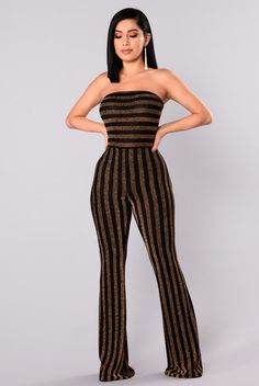 999800395ef4 Down And Counting Striped Jumpsuit - Gold Black. Metallic JumpsuitsBodysuit  FashionCute RompersDress ...