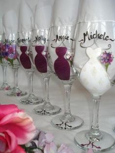 Bridal party wine glasses! Personalized name & dress Beidal gown & bridesmaids. I would do groomsmen as well!