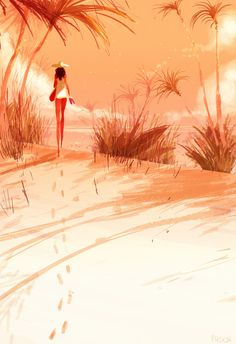 The long walk. #pascalcampionart -I like long walks on the beach!  -Does it help you empty your mind?  -It helps me fill it up with ideas!