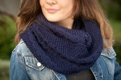 Navy cables and pebbles infinity scarf with metallic thread accents