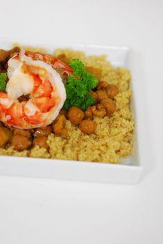 curry quinoa met kikkererwten en scampi