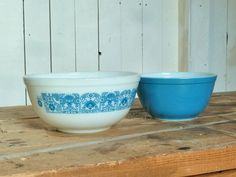 This item is unavailable Pottery Bowls, Pottery Art, Mixing Bowls, Modern Ceramics, Vintage Pyrex, My Etsy Shop, Tableware, Check, Blue