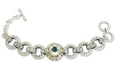 Green Amethyst Sterling Silver Bracelet with 18K Gold Accents | Cirque Jewels