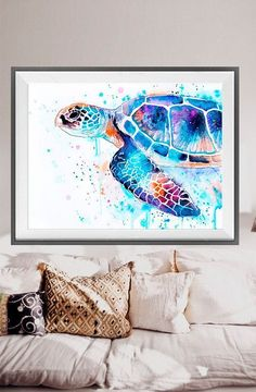 Add a pop of color to your living room. Sea turtle watercolor painting print Sea turtle art by SlaviART