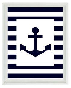 Nautical Nursery Anchor Wall Art Print  - Navy Blue White Stripes - Children Room Home Decor Beach House  8x10. $15.00, via Etsy.