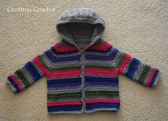 This adorable striped sweater comes complete with hood and buttons up the front. Can be made to suit either gender.