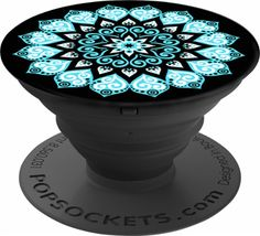 PopSocket - Peace Mandala Sky Grip and Stand for Mobile Devices - Black/Black - Front Zoom