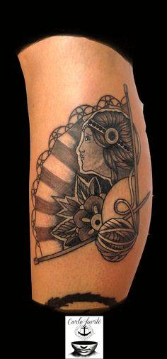 traditional tattoo #abanico tattoo #girl tattoo #rose tattoo #old school tattoo #tattoo idea #fuerteventura tattoo #corralejo tattoo #carlofuertetattoo