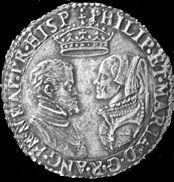 Coin commemorating the wedding of Queen Mary Tudor to Phillip II of Spain.