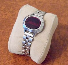 Vintage Women's Silvertone LED Digital Watch, Works Well, Red Dial Face, Circa 1970s.