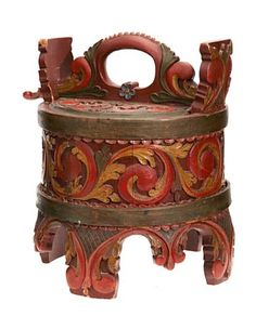 Norwegian Ambar, Round container of stave construction, carved with acanthus style leaves and florals. (Enlarge)