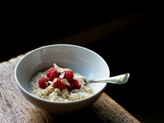 Coconut Quinoa Pudding with Raspberries, toasted coconut