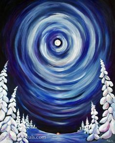 Easy Winter Painting On Canvas | ... , 24″x 30″ acrylic on canvas, copyright © 2014 Kathryn Beals:
