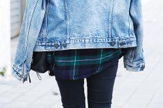 Flannel plus big jean jacket