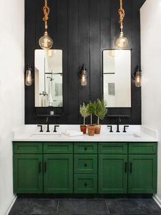 100 Cozy Rustic Farmhouse Bathroom Decor Ideas You Can Easily Copy - farmhouse b. 100 Cozy Rustic Farmhouse Bathroom Decor Ideas You Can Easily Copy - farmhouse bathroom decor idea with shaker cabinets and a central dark wood panel wall. Bathroom Pictures, Bathroom Interior Design, Green Bathroom, Bathroom Red, Stylish Bathroom, Black Accent Walls, Shiplap Backsplash, Cottage Bathroom, Farmhouse Bathroom Decor