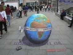 Globo terrestre pintado em 3D com mensagem direcionada a África ...
