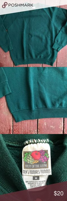 Vintage Fruit of the Loom Crewneck Sweater This is a vintage fruit of the loom crewneck sweater. The green on this is vibrant. Worn, comfortable, in good condition. Let me know if you have any questions! Fruit of the Loom Sweaters